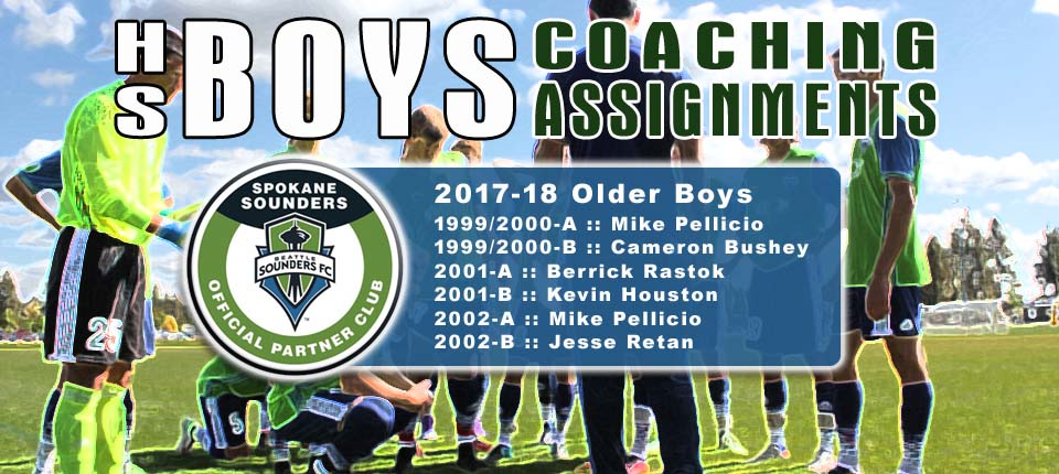 Coaching Assignments for 2017-18 Sounders Older Boys Teams